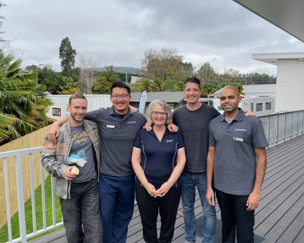 From left to right: Ryan Smagalski (Lumino), Kane Zhao (Tauranga Dental House), Sue Cole (Coordinator), Hadleigh Reid (Victoria Dental), Nishant Nair (Lumino).